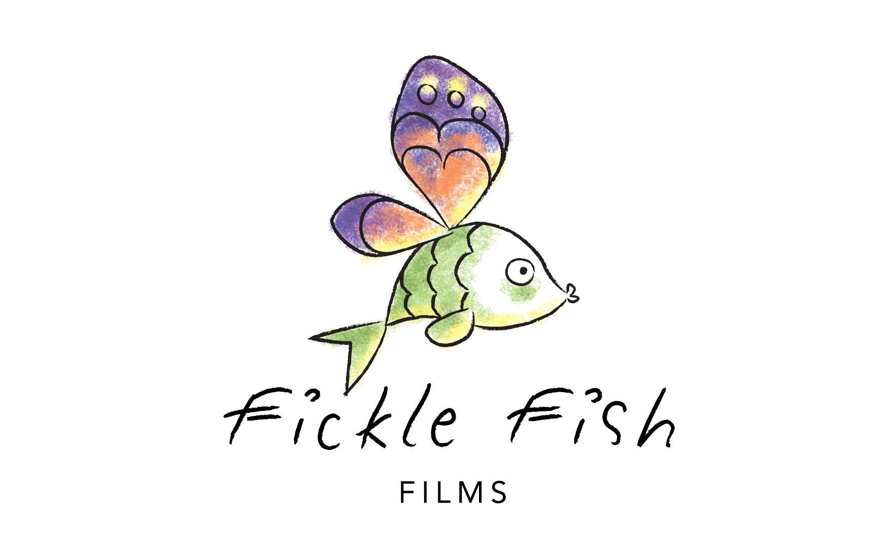 Fickle Fish Films Logo Rain Visual Strategy Design